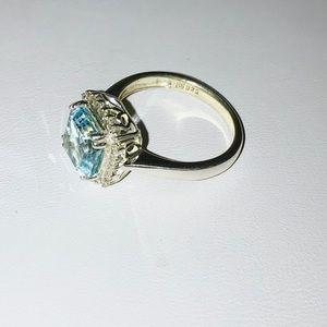 Jewelry - Genuine blue topaz diamond ring